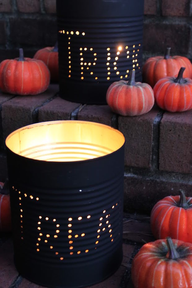 Halloween lámpás konzervdobozból lépésről lépésre