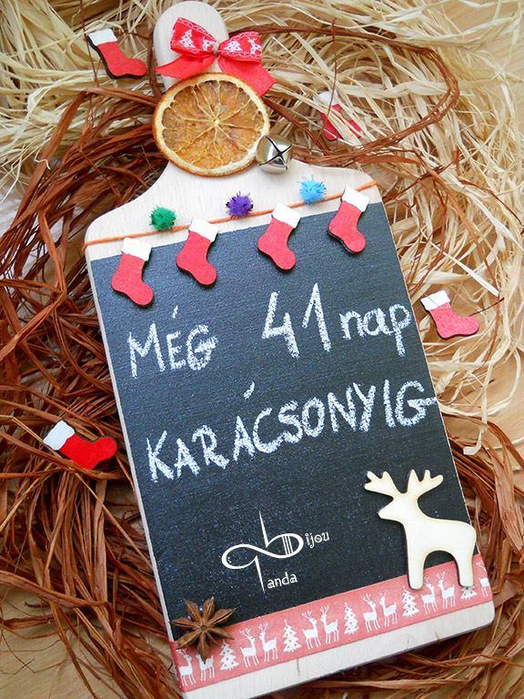 Karácsonyi üzenőtábla vágódeszkából